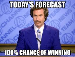100 chance of winning
