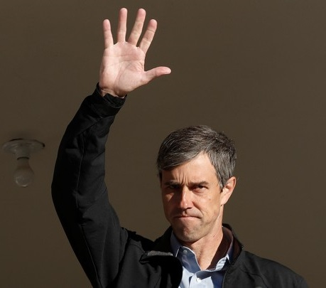 U.S. Rep. Beto O'Rourke (D-TX), candidate for U.S. Senate waves from his front porch after voting in the 2018 midterm elections in El Paso
