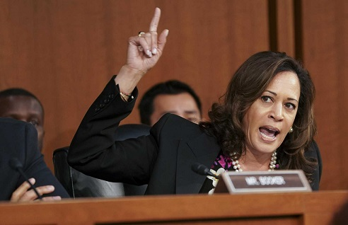 Sen. Kamala Harris (D-Calif.) speaks during the Senate Judiciary Committee's confirmation hearing of Judge Brett Kavanaugh, President Donald Trumpís nominee for the U.S. Supreme Court, on Capitol Hill in Washington.