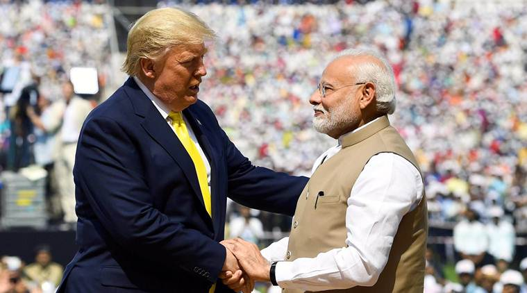 Prime Minister Narendra Modi shakes hand with US President Donald Trump during the 'Namaste Trump' event
