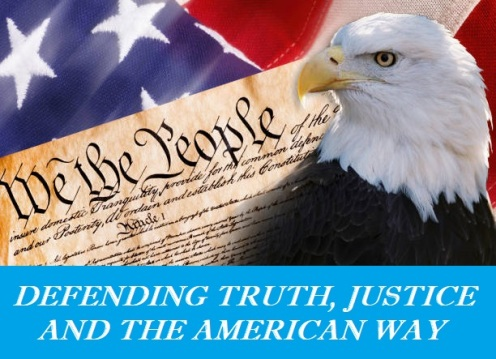 We the people with American bald eagle and flag.